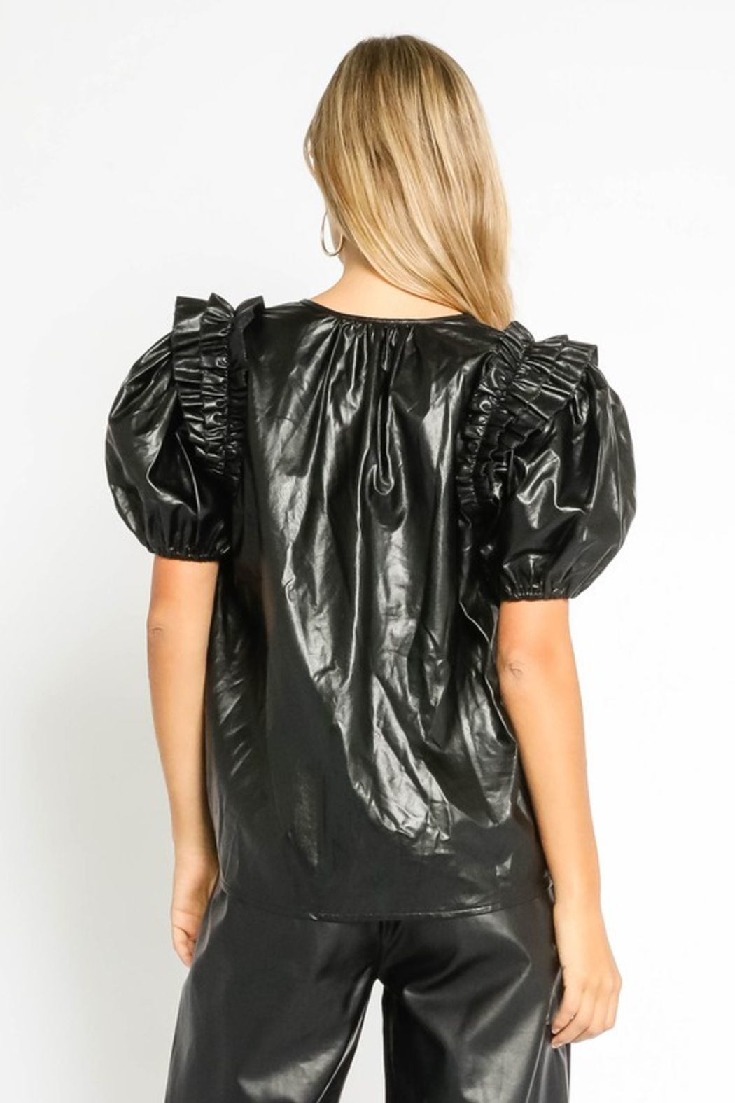 Olivaceous  Vegan Puff Sleeve - Side Cropped Image