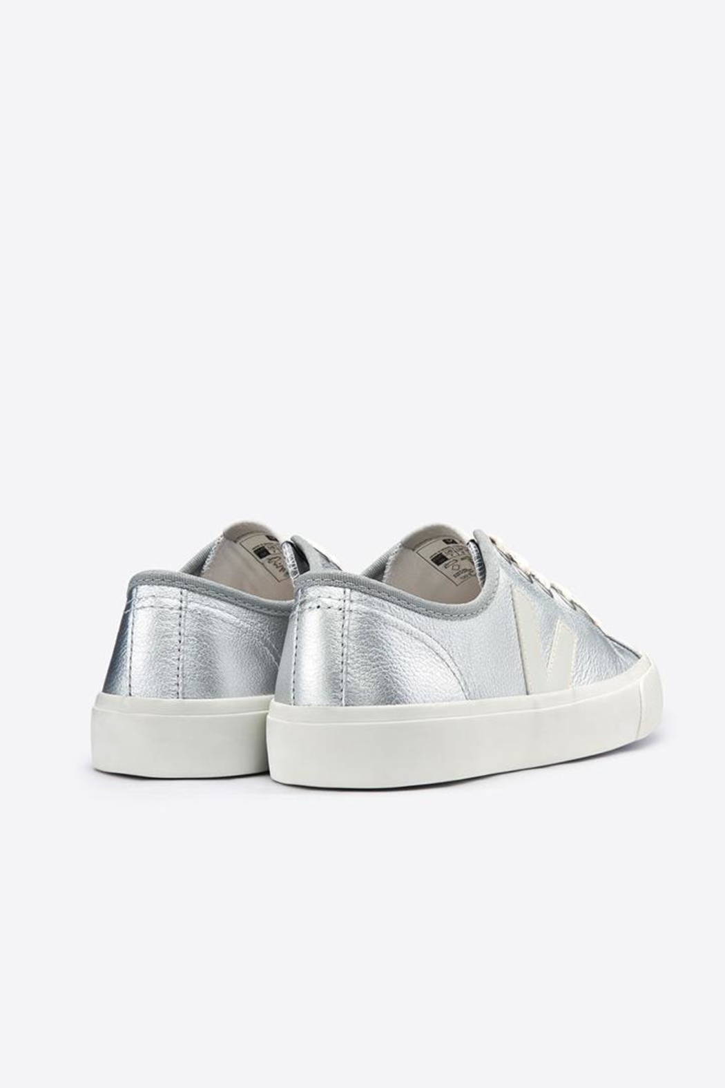 Veja Wata Leather Silver Shoes - Side Cropped Image