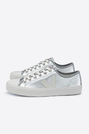 Veja Wata Leather Silver Shoes - Front cropped