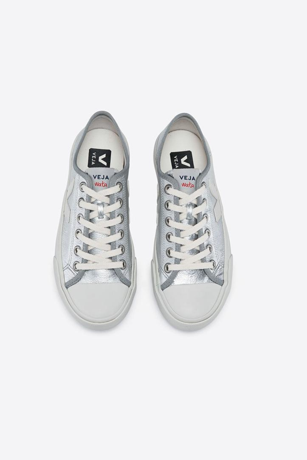 Veja Wata Leather Silver Shoes - Front Full Image