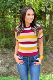 She + Sky Vel Striped Sweater Top - Product Mini Image