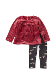 Tea Collection Velour Baby Set - Front cropped