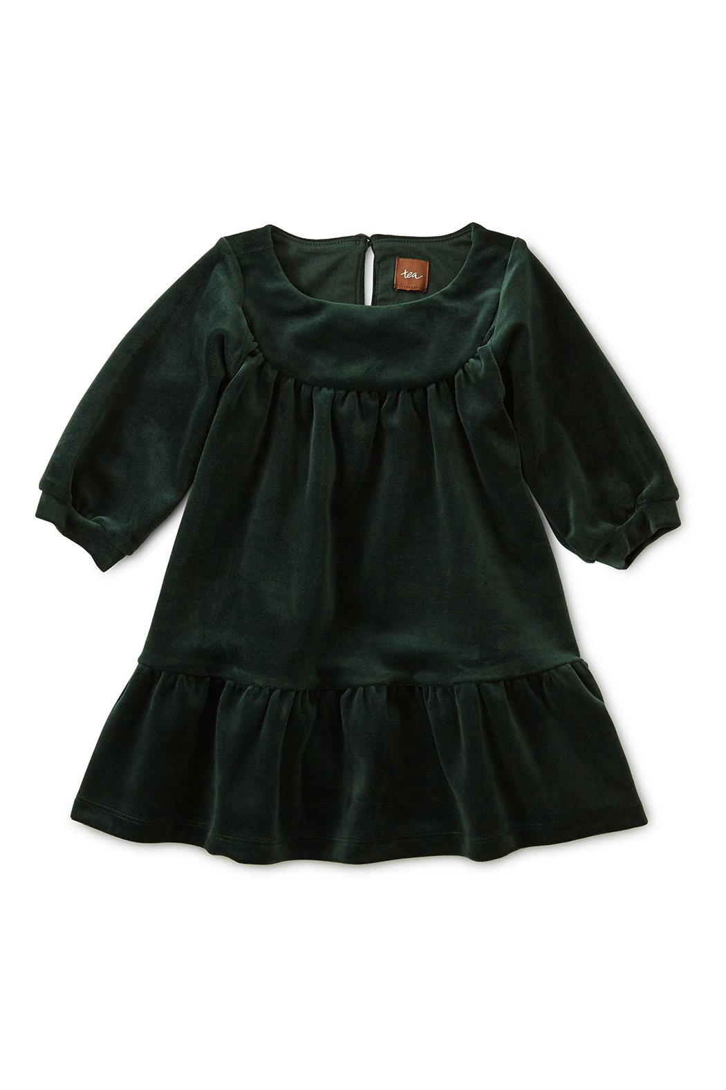 Tea Collection Velour Ruffle Baby Dress - Front Cropped Image