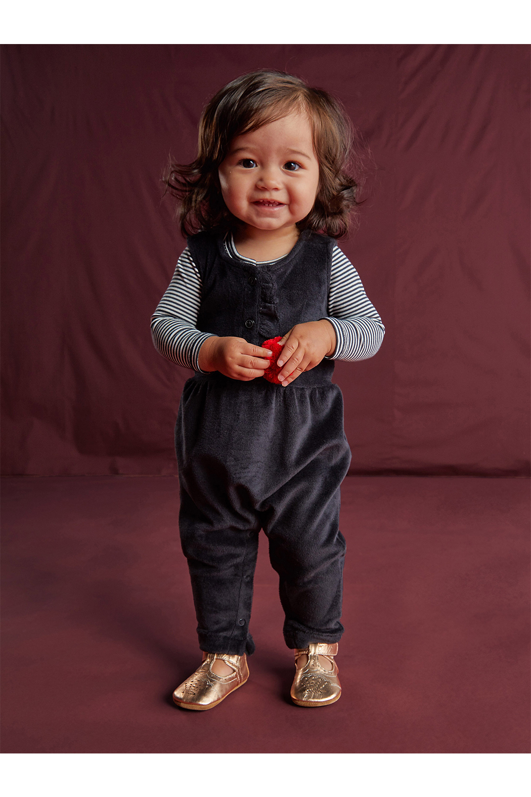 Tea Collection Velour Ruffle Romper - Front Full Image