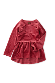 Tea Collection Velour Tunic Ruffle Top - Front cropped