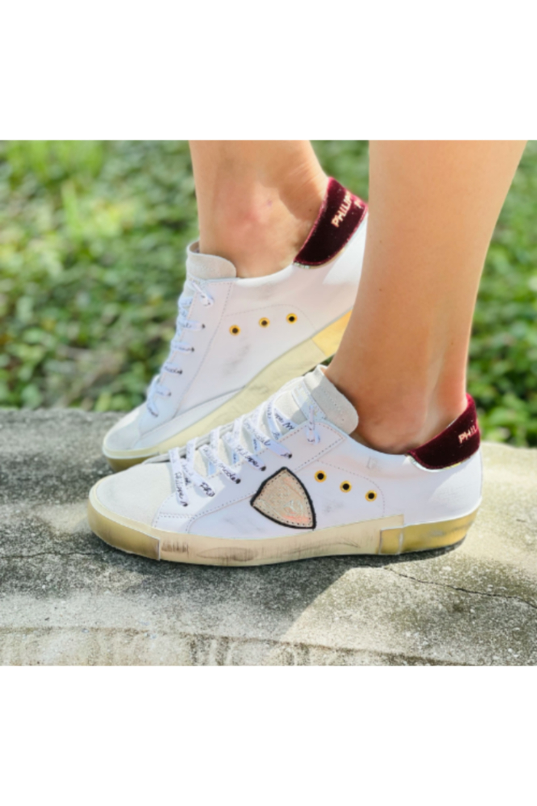 Philippe Model  Velvet and Gold Low Top - Front Full Image