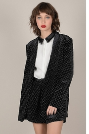Molly Bracken Velvet Blazer with Gold Polka Dots - Product Mini Image