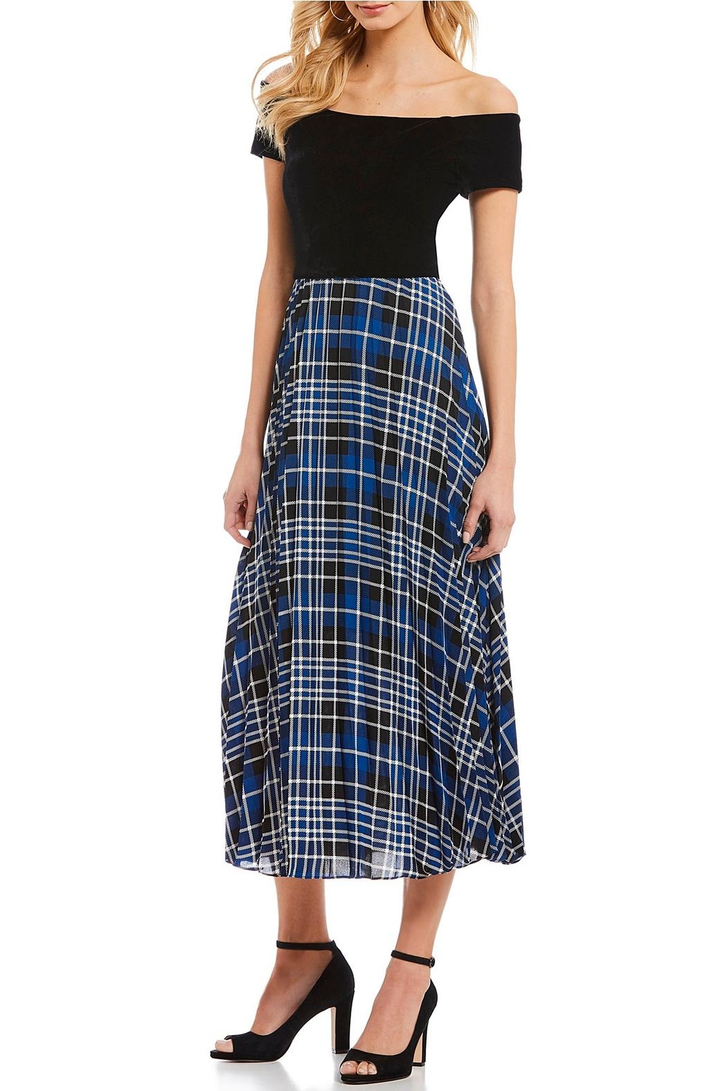 46cf7c0f0ec Donna Morgan Velvet-Bodice Plaid Skirt from New Jersey by Le ...