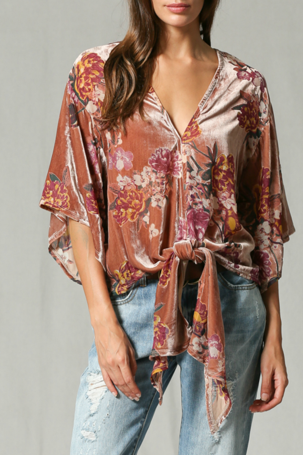 By Together Velvet burnout front tie top - Main Image