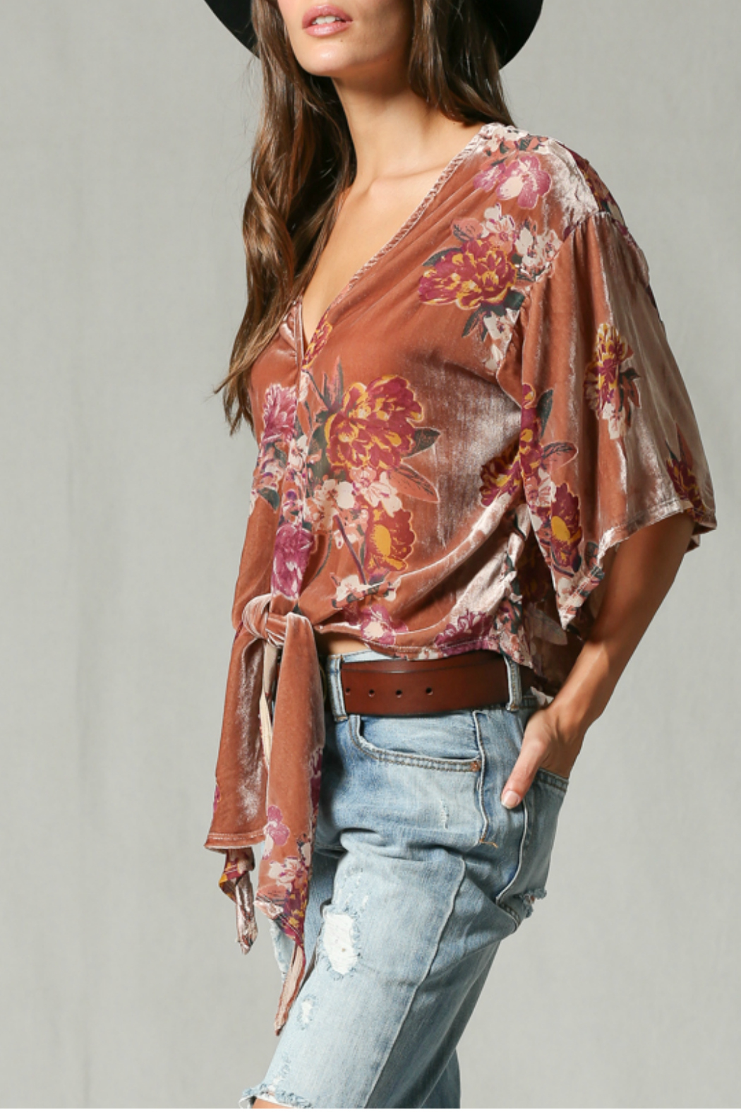 By Together Velvet burnout front tie top - Side Cropped Image