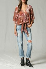 By Together Velvet burnout front tie top - Front full body