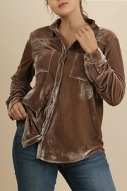 Umgee USA Brown Velvet Top - Front cropped