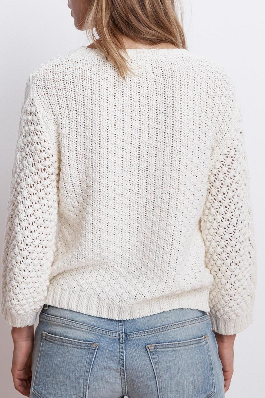 Velvet Cable Knit Sweater - Side Cropped Image