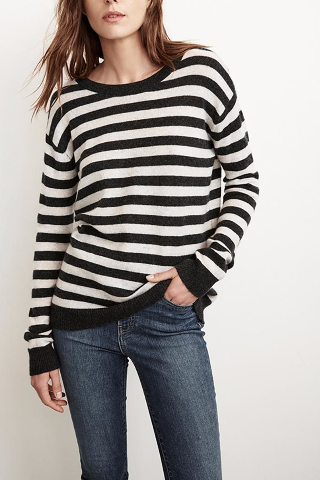 Velvet Cath Stripe Cashmere Sweater - Front Cropped Image