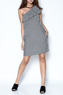 Shoptiques Product: Checkered One Shoulder Dress