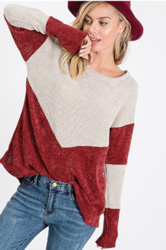 Lovely Melody Velvet colorblock sweater - Product List Image