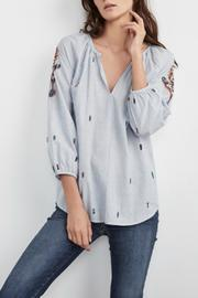 Velvet Cotton Peasant Top - Front cropped