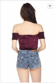 blue blush Velvet Crop Top - Front full body