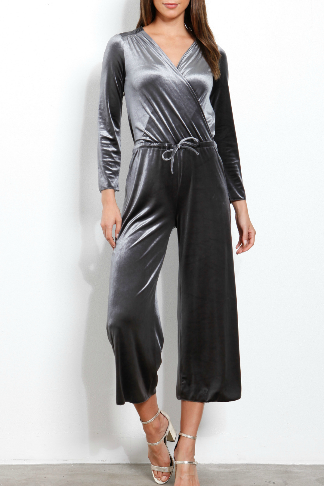 Three Dots Velvet Crossover Jumpsuit - Front Cropped Image
