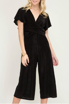 She + Sky Velvet Culotte Jumpsuit - Product List Image