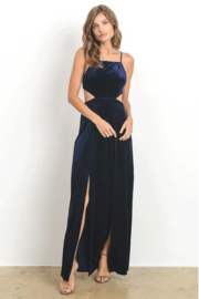 Hommage Velvet Cut-Out Open Back Dress - Product Mini Image