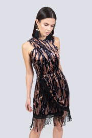 Allison Collection VELVET DRAPED DRESS - Product Mini Image