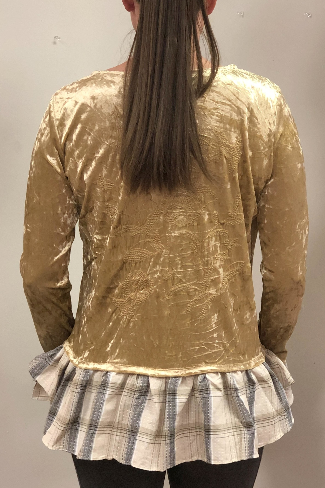 Sharon Young Velvet Embroidered Blouse - Front Full Image