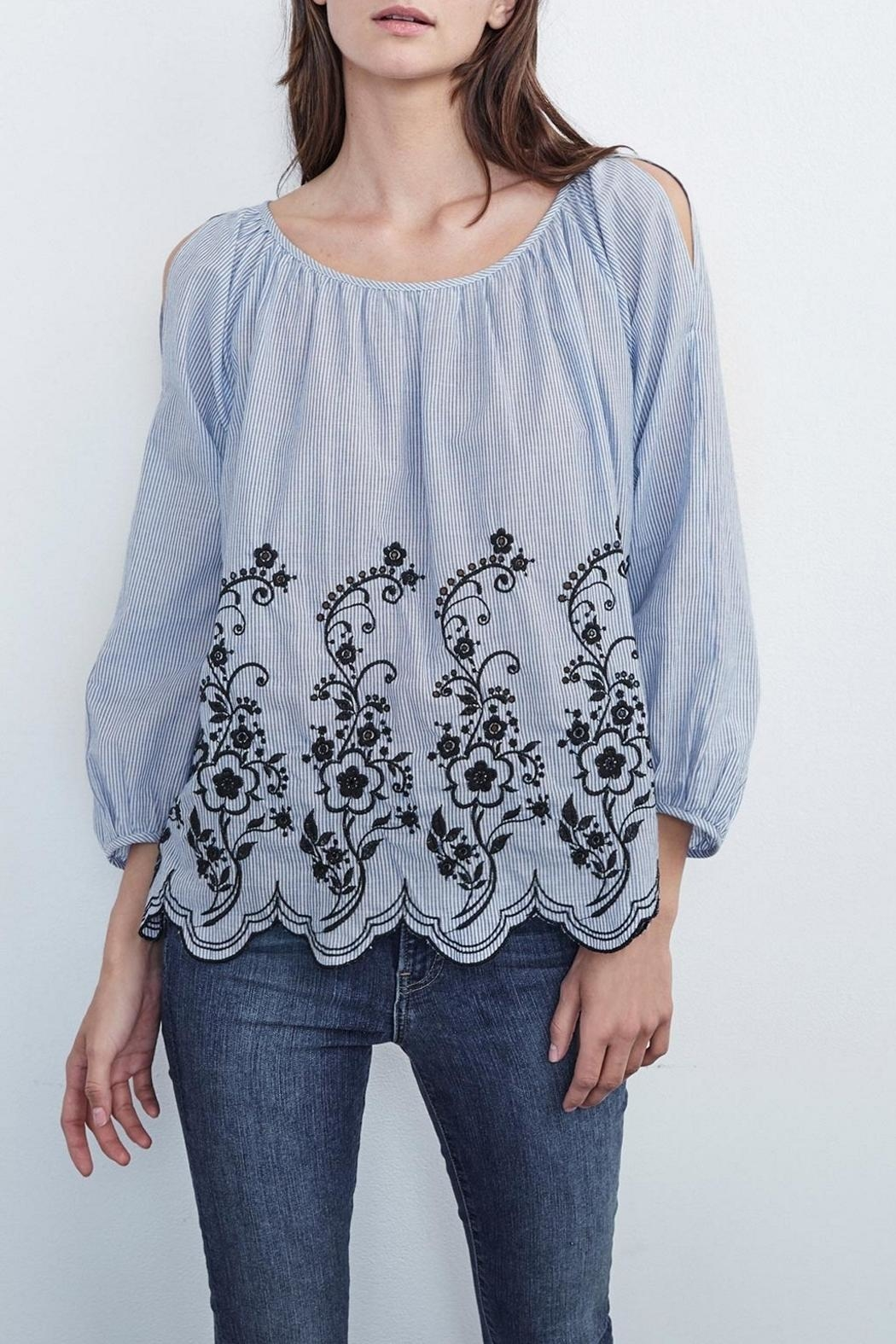Velvet Embroidered Peasant Top - Main Image