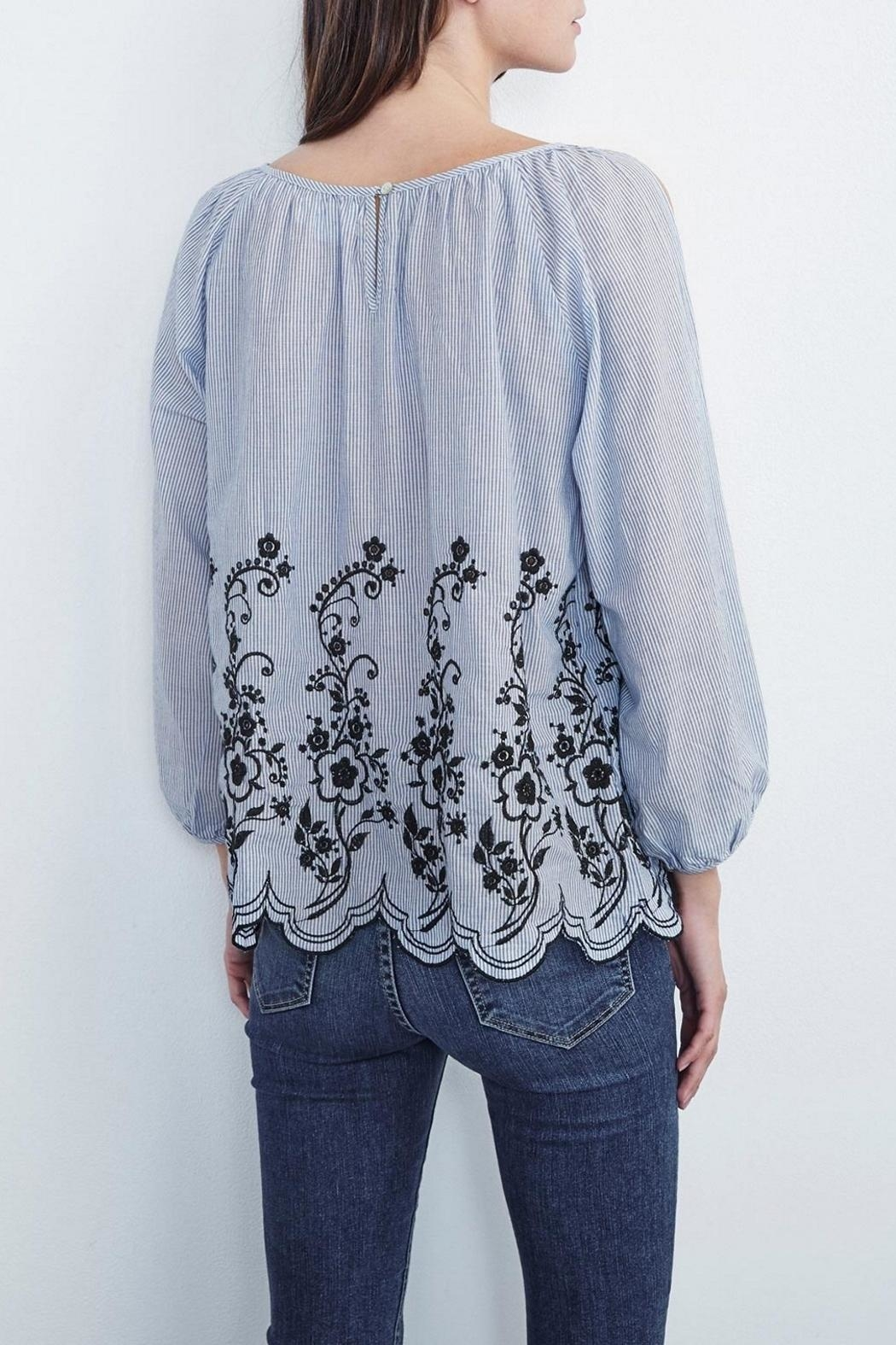 Velvet Embroidered Peasant Top - Front Full Image
