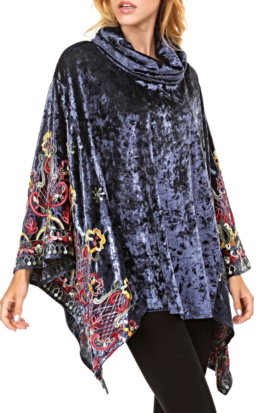Adore Velvet Embroidery Poncho - Main Image