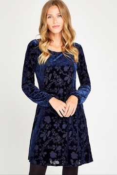 Apricot Velvet Floral Burnout Dress - Product List Image