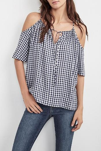Shoptiques Product: Gingham Cold Shoulder Top - main