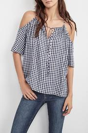 Velvet Gingham Cold Shoulder Top - Product Mini Image
