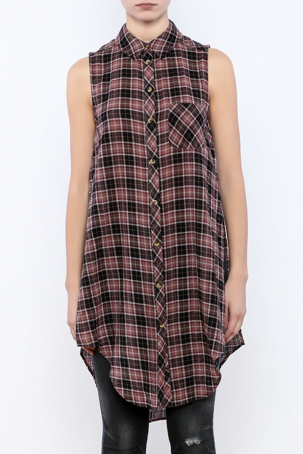 Velvet Heart Cannes Plaid Tunic - Side Cropped Image