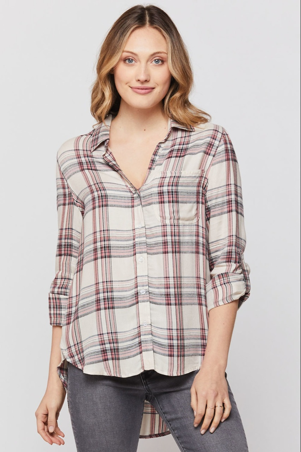 Velvet Heart Elisa Plaid Button Up Shirt - Front Cropped Image