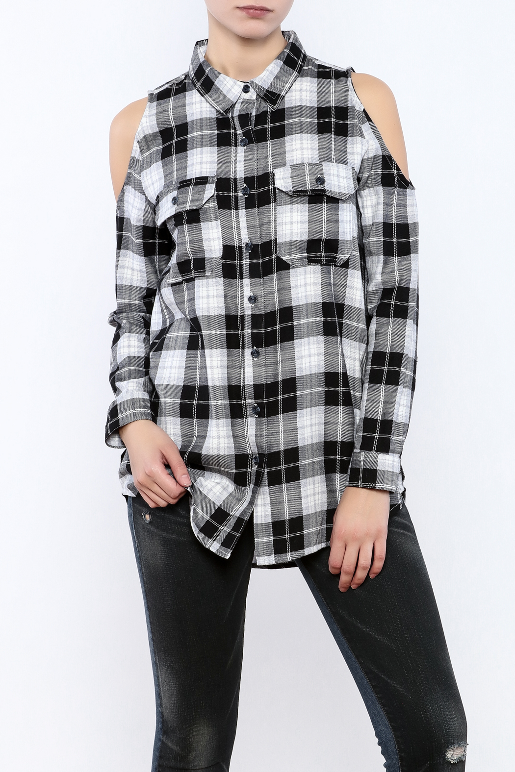 Velvet Heart Finely Cold Shoulder Plaid Top - Main Image