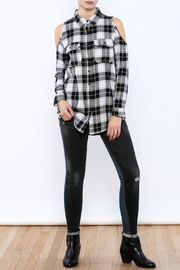 Velvet Heart Finely Cold Shoulder Plaid Top - Front full body