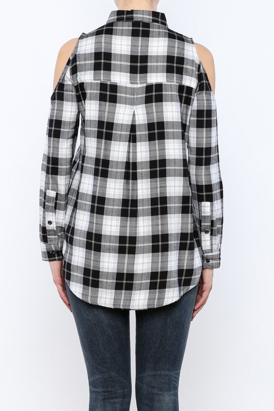 Velvet Heart Finely Cold Shoulder Plaid Top - Back Cropped Image