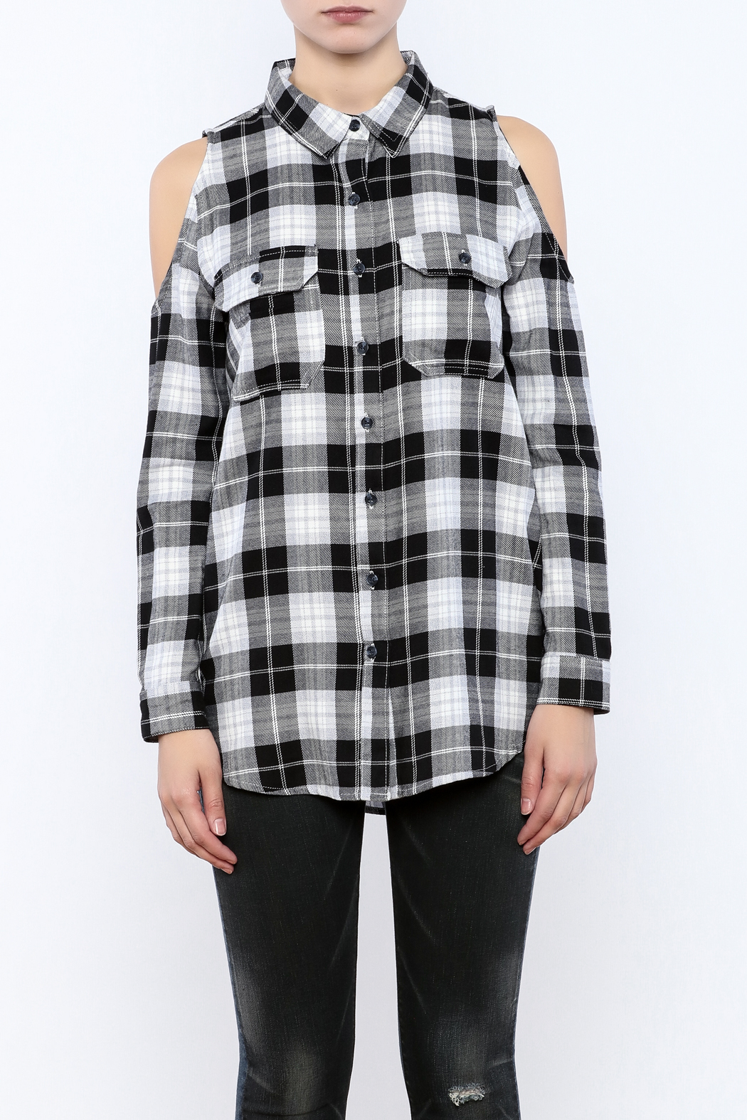 Velvet Heart Finely Cold Shoulder Plaid Top - Side Cropped Image