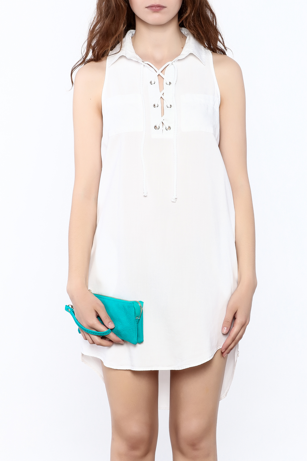 Velvet Heart White Sleeveless Dress - Side Cropped Image