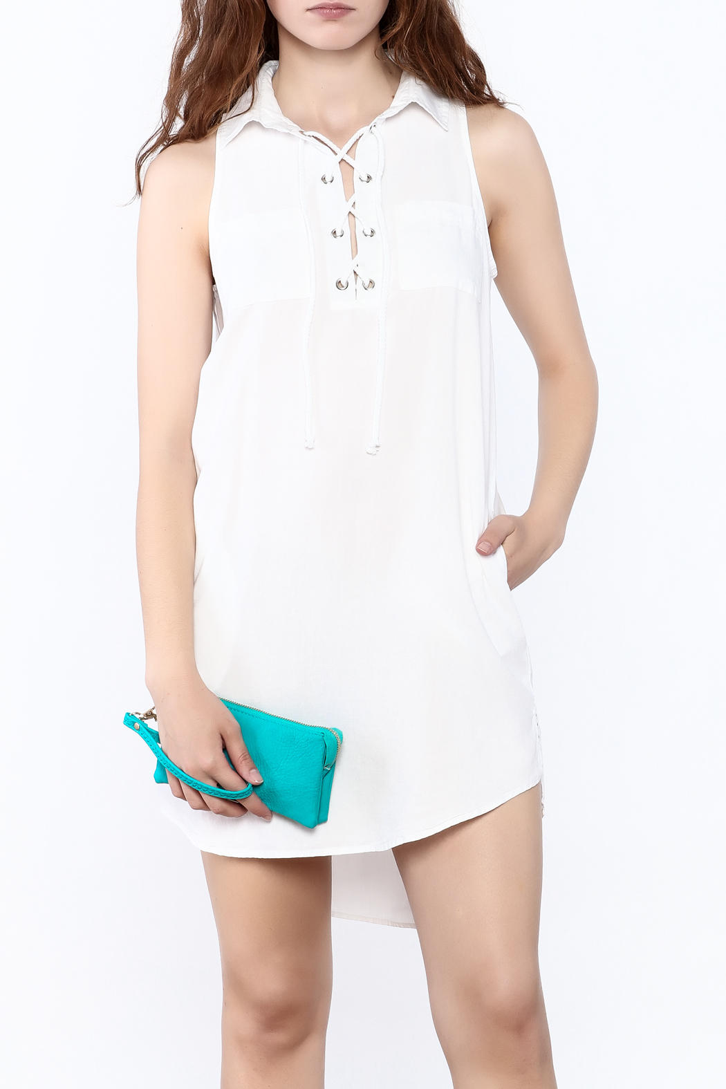 Velvet Heart White Sleeveless Dress - Front Cropped Image