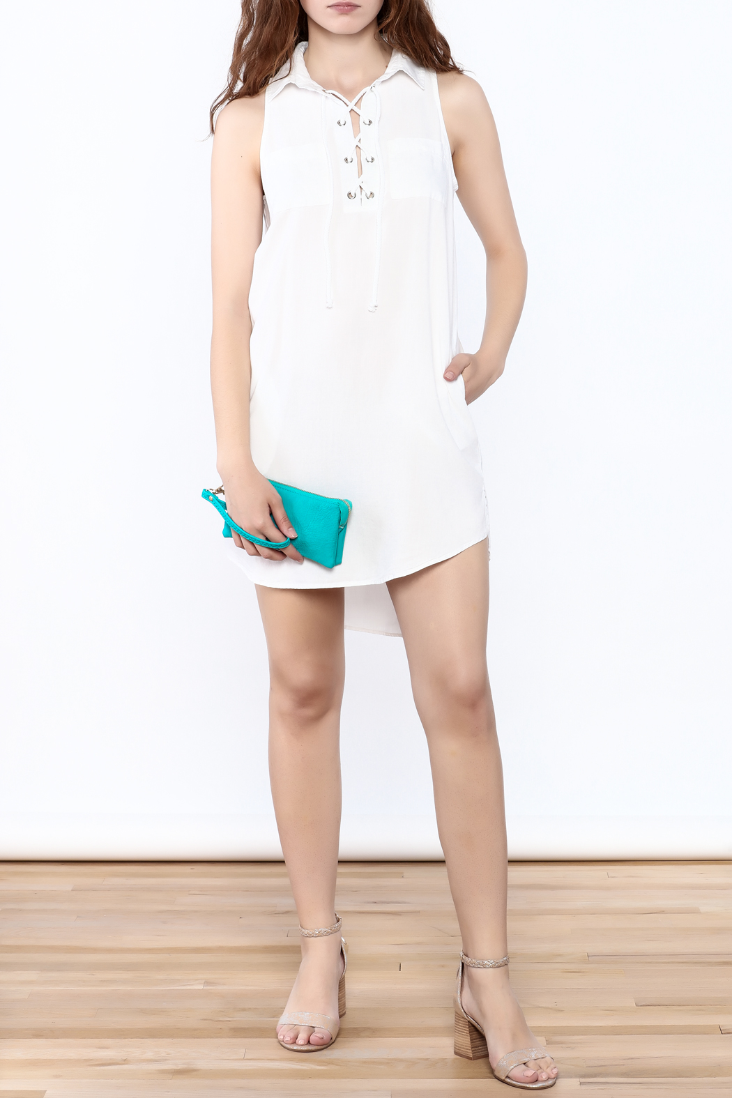 Velvet Heart White Sleeveless Dress - Front Full Image