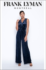 Frank Lyman Velvet Jumpsuit, Midnight - Product Mini Image