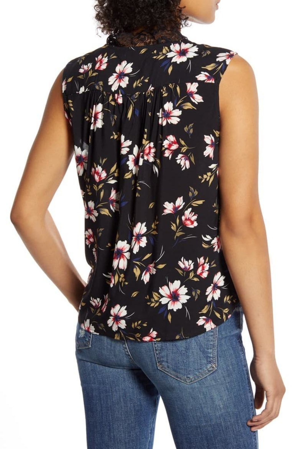 Velvet Lacy Sleeveless Challis Top - Side Cropped Image
