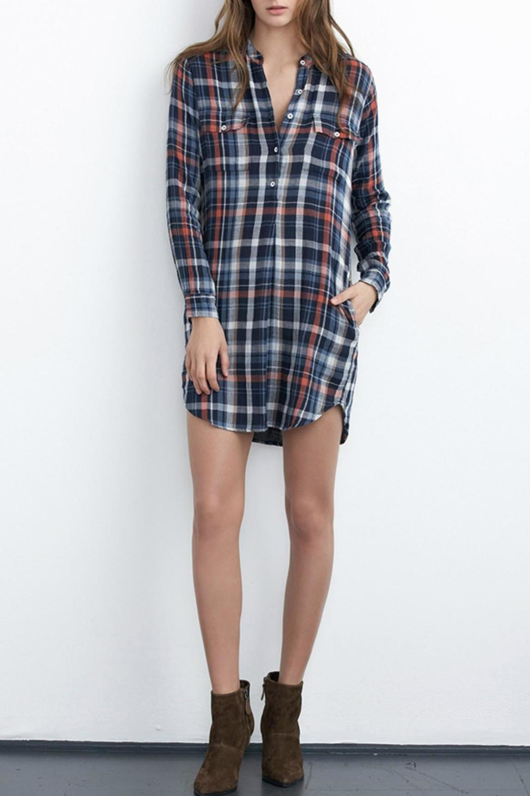 Velvet plaid shirt dress from cleveland by grey colt for Plaid shirt under sweater