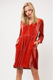 Cozy Casual Velvet Pleated Dress - Product Mini Image