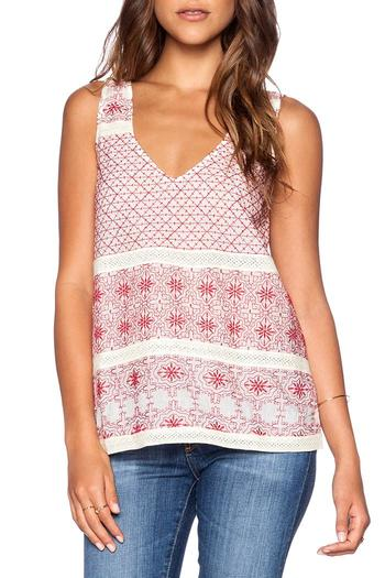 Shoptiques Product: Red Embroidered Tank - main