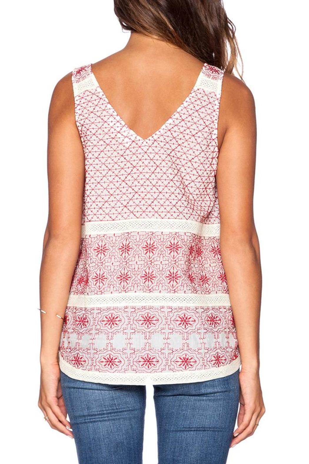 Velvet Red Embroidered Tank - Side Cropped Image