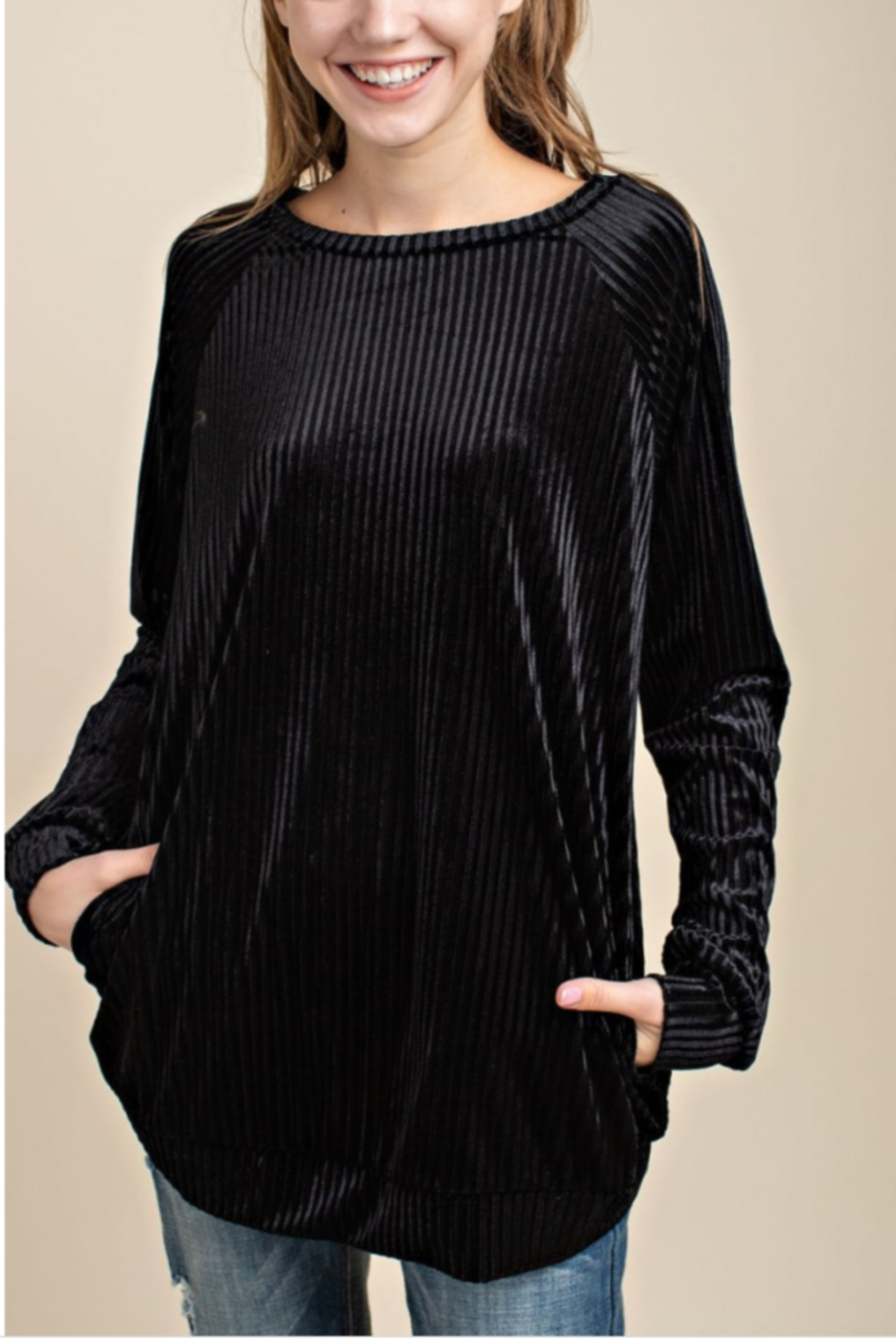 Mittoshop Velvet Ribbed Sweater with Pockets - Main Image