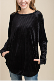 Mittoshop Velvet Ribbed Sweater with Pockets - Front cropped